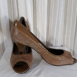 Bandolino Taupe Textured Open Toe Heels